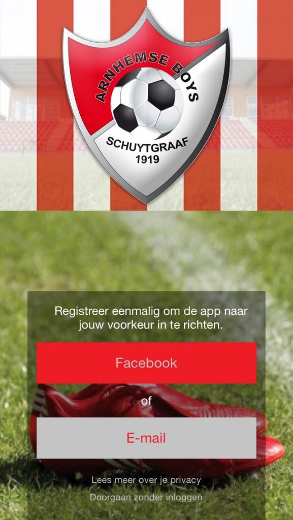Aanmeldscherm App