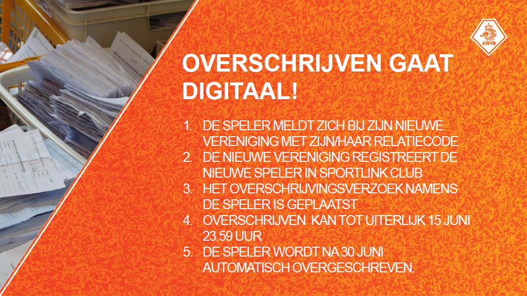 digitaal overschrijving KNVB voetbal